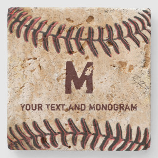 Vintage Baseball Coasters Your Monogram and Name