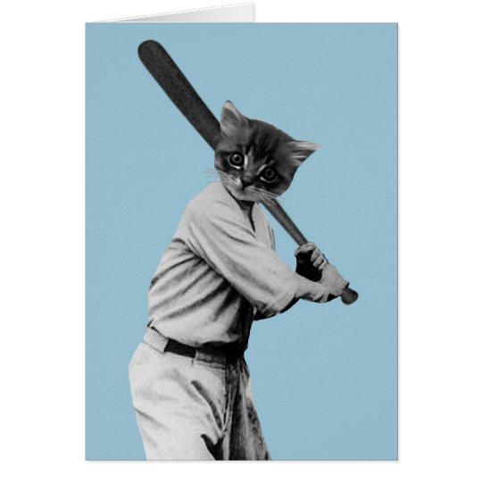 vintage baseball funny cat card