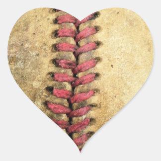 Vintage Baseball Heart Sticker