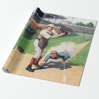 Vintage Baseball Illustration Wrapping Paper