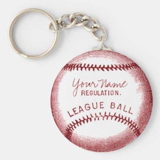 Vintage Baseball, personalized ball Basic Round Button Key Ring
