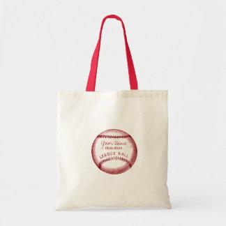 Vintage Baseball, personalized ball Budget Tote Bag