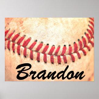Vintage Baseball Player Custom Text Poster