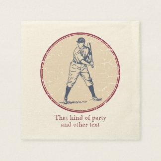 Vintage Baseball Player Disposable Napkin