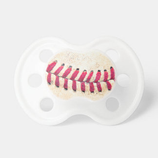 Vintage Baseball Red Stitches Close Up Photo Baby Pacifier