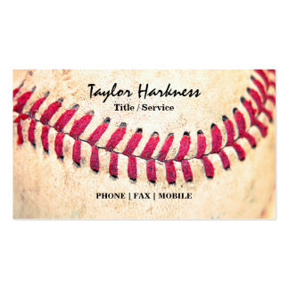 Vintage Baseball Red Stitches Close Up Photo Business Card Template