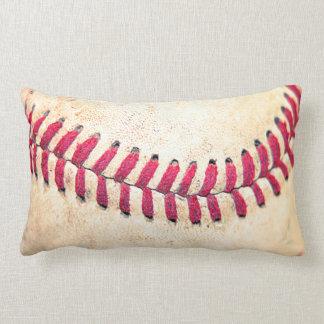 Vintage Baseball Red Stitches Close Up Photo Lumbar Cushion