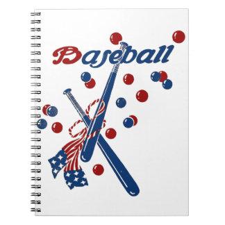 Vintage Baseball Stars and Stripes Notebook