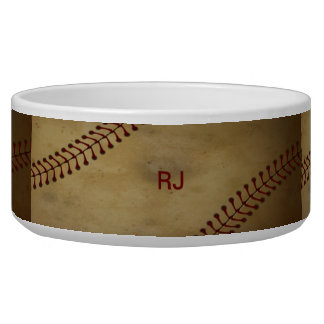 Vintage Baseball with Customize Pet Bowls