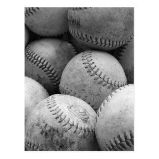 Vintage Baseballs in Black and White Postcard