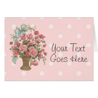 Vintage Basket of Pink Roses All Purpose Card