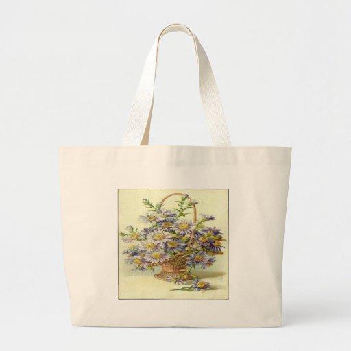 Vintage Basket of Purple Flowers Canvas Bags
