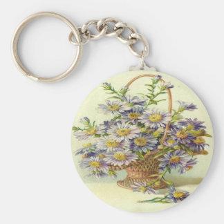 Vintage Basket of Purple Flowers Basic Round Button Key Ring