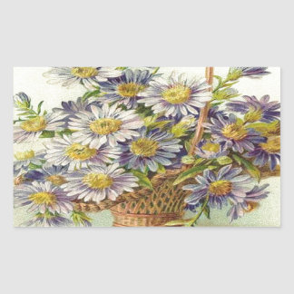 Vintage Basket of Purple Flowers Rectangular Sticker