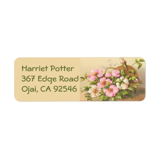 Vintage Basket Of Roses Return Address Label