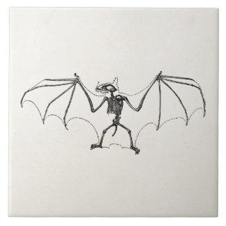 Vintage Bat Skeleton Personalized Halloween Bats Tile