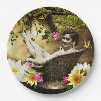 Vintage Bathgirl Paper Plates 9 Inch Paper Plate
