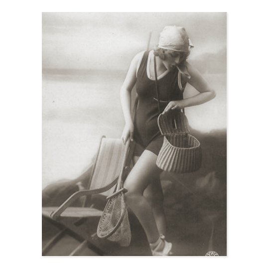 Vintage Bathing Beauty Flapper Girl Portraits Postcard