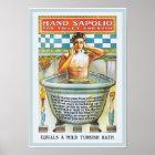 Vintage Bathtub Bathing Encouragement Sapolio Ad Poster