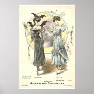 Vintage Batman costume French fashion 1909 Poster