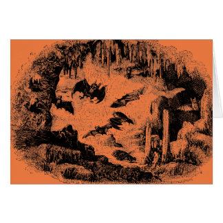 Vintage Bats in Cave 1800s Bat Halloween Orange Card