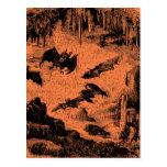 Vintage Bats in Cave 1800s Bat Halloween Orange Postcards