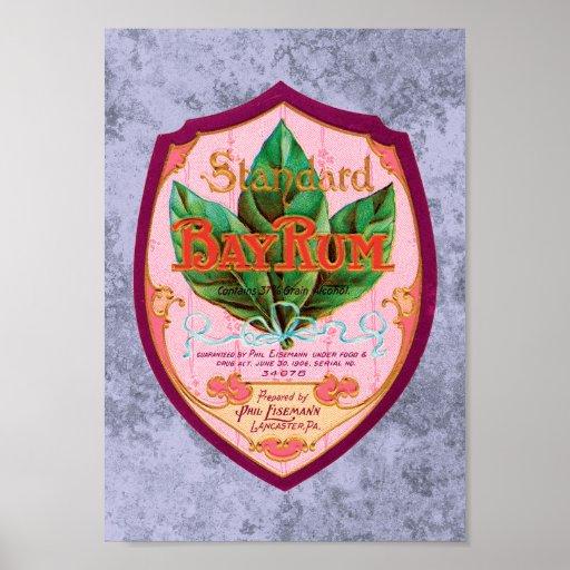 Vintage Bay Rum Label Poster