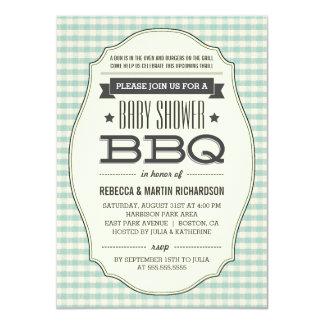 Vintage BBQ Boy Baby Shower Invitations