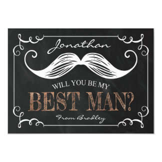 VINTAGE BE MY BEST MAN | GROOMSMEN 11 CM X 16 CM INVITATION CARD