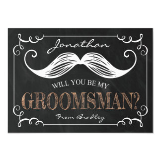 VINTAGE BE MY GROOMSMEN | GROOMSMAN 11 CM X 16 CM INVITATION CARD