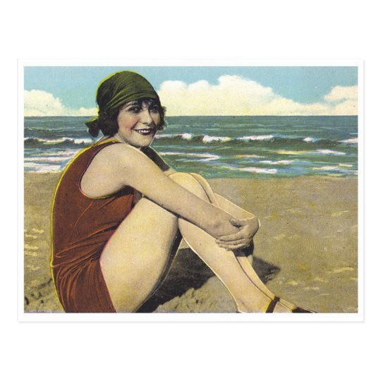 Vintage beach 20s flapper sunbather postcard