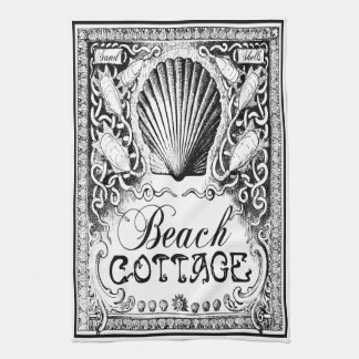 vintage beach cottage kitchen towel black,  white