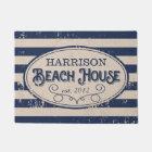 Vintage Beach House Personalised Navy Blue Doormat