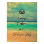 "vintage beach ""Keep Calm and Dream Big"" quote"