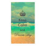 "vintage beach ""Keep Calm and Dream Big"" quote Pack Of Standard Business Cards"