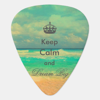 "vintage beach ""Keep Calm and Dream Big"" quote Guitar Pick"