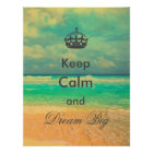 "vintage beach ""Keep Calm and Dream Big"" quote Poster"
