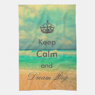 "vintage beach ""Keep Calm and Dream Big"" quote Tea Towel"
