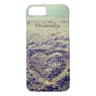 Vintage beach photo Heart in sand iPhone 7 case