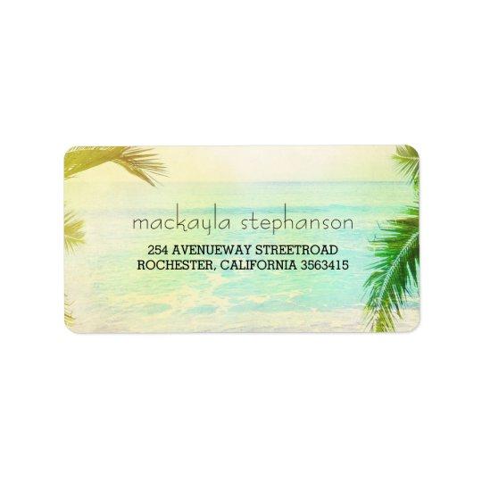 Vintage Beach Sunset Wedding Address Label