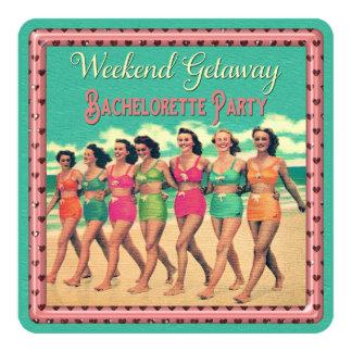 Vintage Beach Weekend Getaway Bachelorette Party 13 Cm X 13 Cm Square Invitation Card