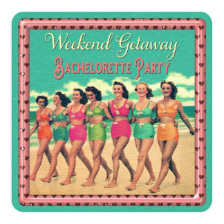 Vintage Beach Weekend Getaway Bachelorette Party Card