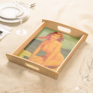 Vintage Beachgoer Serving Tray