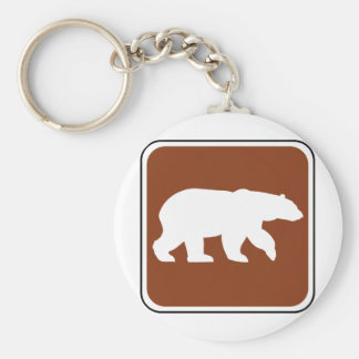 Vintage Bear Road Sign Basic Round Button Key Ring