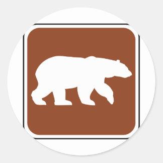 Vintage Bear Road Sign Round Sticker