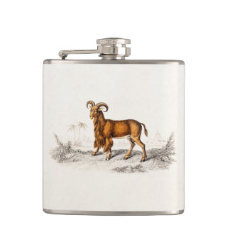 Vintage Bearded Goat Drawing Retro Beard Goats Hip Flasks