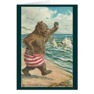 Vintage - Bears Morning Dip Greeting Card