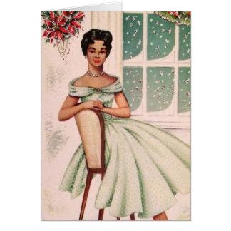Vintage Beautiful African American Woman Card