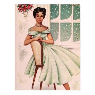 Vintage Beautiful African American Woman Postcard