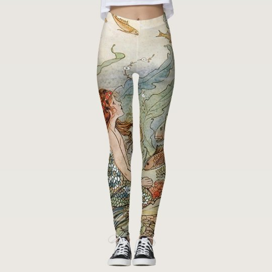 Vintage Beautiful Girly Mermaid Under The Sea Leggings